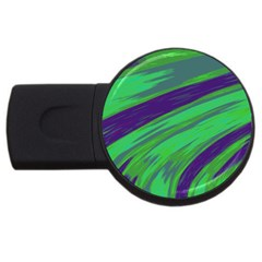 Swish Green Blue Usb Flash Drive Round (4 Gb)  by BrightVibesDesign