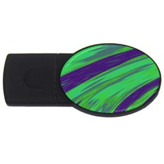 Swish Green Blue Usb Flash Drive Oval (4 Gb)  by BrightVibesDesign