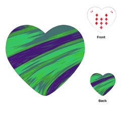 Swish Green Blue Playing Cards (heart)  by BrightVibesDesign