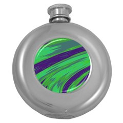 Swish Green Blue Round Hip Flask (5 Oz) by BrightVibesDesign