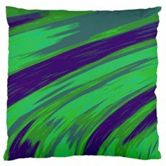 Swish Green Blue Large Cushion Case (two Sides) by BrightVibesDesign