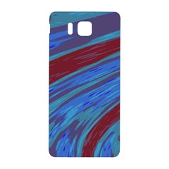 Swish Blue Red Samsung Galaxy Alpha Hardshell Back Case by BrightVibesDesign