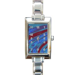 Swish Blue Red Abstract Rectangle Italian Charm Watch by BrightVibesDesign