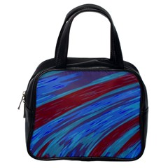 Swish Blue Red Abstract Classic Handbags (one Side) by BrightVibesDesign