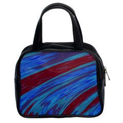 Swish Blue Red Abstract Classic Handbags (2 Sides) by BrightVibesDesign