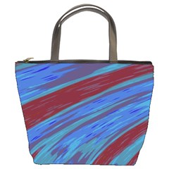 Swish Blue Red Abstract Bucket Bags by BrightVibesDesign