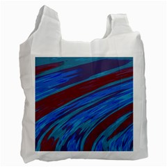 Swish Blue Red Abstract Recycle Bag (one Side) by BrightVibesDesign