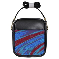 Swish Blue Red Abstract Girls Sling Bags by BrightVibesDesign
