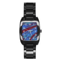 Swish Blue Red Abstract Stainless Steel Barrel Watch by BrightVibesDesign
