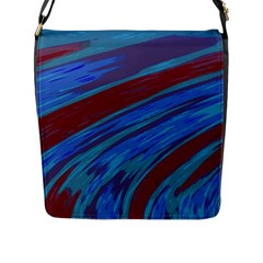 Swish Blue Red Abstract Flap Messenger Bag (l)  by BrightVibesDesign