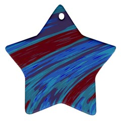 Swish Blue Red Abstract Star Ornament (two Sides)  by BrightVibesDesign