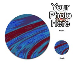 Swish Blue Red Abstract Multi-purpose Cards (round)  by BrightVibesDesign