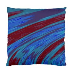 Swish Blue Red Abstract Standard Cushion Case (two Sides) by BrightVibesDesign