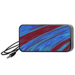 Swish Blue Red Abstract Portable Speaker (black)  by BrightVibesDesign