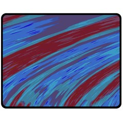 Swish Blue Red Abstract Double Sided Fleece Blanket (medium)  by BrightVibesDesign