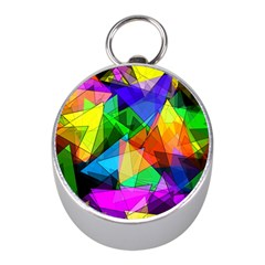 Colorful Triangles                                                                  			silver Compass (mini) by LalyLauraFLM