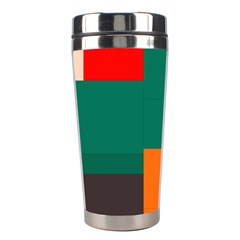 Rectangles And Squares  In Retro Colors                                                                   Stainless Steel Travel Tumbler by LalyLauraFLM