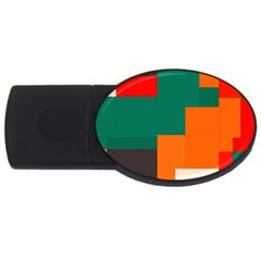 Rectangles And Squares  In Retro Colors                                                                   			usb Flash Drive Oval (2 Gb) by LalyLauraFLM
