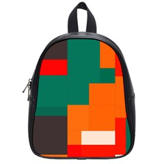 Rectangles And Squares  In Retro Colors                                                                   			school Bag (small) by LalyLauraFLM