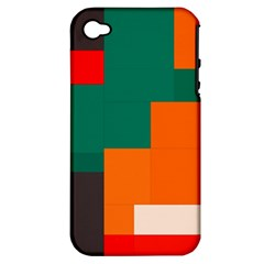 Rectangles And Squares  In Retro Colors                                                                   			apple Iphone 4/4s Hardshell Case (pc+silicone) by LalyLauraFLM