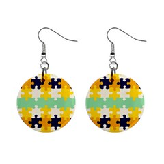 Puzzle Pieces                                                                     			1  Button Earrings by LalyLauraFLM