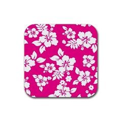 Pink Hawaiian Rubber Coaster (square)  by AlohaStore