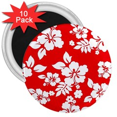 Red Hawaiian 3  Magnets (10 Pack)  by AlohaStore