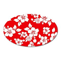Red Hawaiian Oval Magnet by AlohaStore