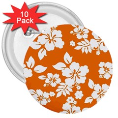 Orange Hawaiian 3  Buttons (10 Pack)  by AlohaStore