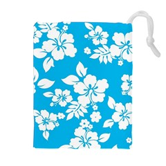 Light Blue Hawaiian Drawstring Pouches (extra Large) by AlohaStore