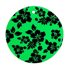 Dark Lime Hawaiian Round Ornament (two Sides)