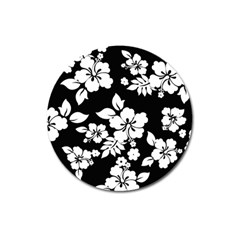 Black And White Hawaiian Magnet 3  (round) by AlohaStore