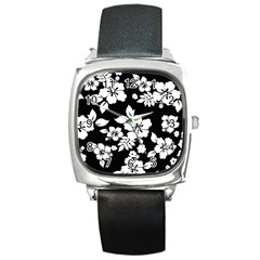 Black And White Hawaiian Square Metal Watch by AlohaStore