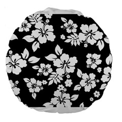 Black And White Hawaiian Large 18  Premium Flano Round Cushions by AlohaStore