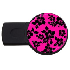 Dark Baby Pink Hawaiian Usb Flash Drive Round (2 Gb)  by AlohaStore
