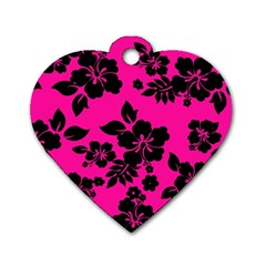 Dark Baby Pink Hawaiian Dog Tag Heart (two Sides) by AlohaStore