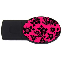 Dark Pink Hawaiian Usb Flash Drive Oval (4 Gb)  by AlohaStore