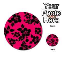 Dark Pink Hawaiian Multi-purpose Cards (round)