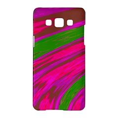 Swish Bright Pink Green Design Samsung Galaxy A5 Hardshell Case  by BrightVibesDesign