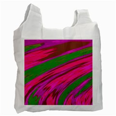 Swish Bright Pink Green Design Recycle Bag (one Side) by BrightVibesDesign