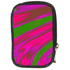 Swish Bright Pink Green Design Compact Camera Cases by BrightVibesDesign