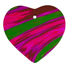 Swish Bright Pink Green Design Heart Ornament (2 Sides) by BrightVibesDesign