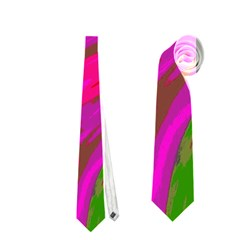 Swish Bright Pink Green Design Neckties (one Side)  by BrightVibesDesign