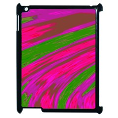 Swish Bright Pink Green Design Apple Ipad 2 Case (black) by BrightVibesDesign