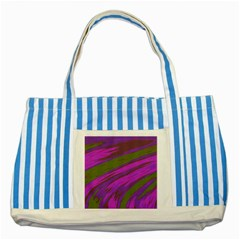 Swish Purple Green Striped Blue Tote Bag by BrightVibesDesign