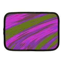 Swish Purple Green Netbook Case (medium)  by BrightVibesDesign