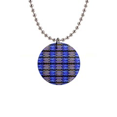 Pattern Tile Blue White Green Button Necklaces by BrightVibesDesign