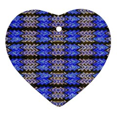 Pattern Tile Blue White Green Heart Ornament (2 Sides) by BrightVibesDesign