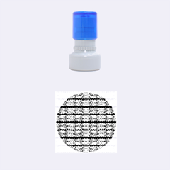 Pattern Tile Blue White Green Rubber Round Stamps (small) by BrightVibesDesign