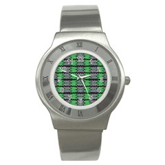Pattern Tile Green Purple Stainless Steel Watch by BrightVibesDesign